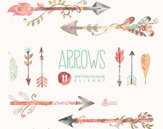 Arrows Watercolor Clipart. 11 Hand painted elements, feathers, diy elements, flowers, invite, tribal arrows, transparent, digital, greetings
