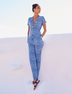 Lovely bright summery jumpsuit.   Perfect for when your legs arrest so brown. Boden