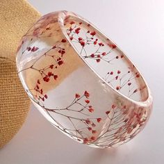 Red Resin Bangle.  Chunky Bangle with Pressed Flowers.  Real Flowers - Red Babys Breath.  Contemporary Botanical Jewelry. via Etsy