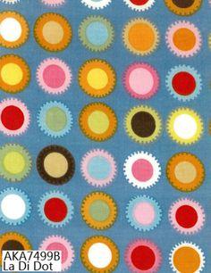 La Di Dot (Blue) by Alexander Henry Conversational Prints, Alexander Henry Fabrics, Dots, Blue, Stitches