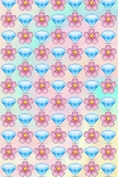 Emoji background, diamonds, flowers