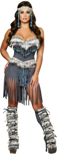 Adult Women Tribal Indian Hottie Native American Costume Halloween Outfit New