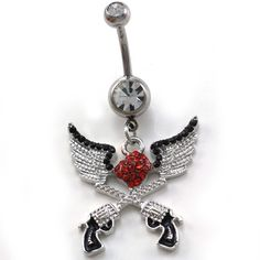 Angel Wings Red Heart Cowgirl Revolver Pistol Gun Dangle Belly ...