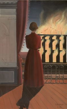 L'incendie, 1935, Paul Delvaux. Belgian (1897 - 1994) - Oil on Canvas -  Via:  Here  And  Here