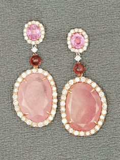 London Collections 18k White and Rose Gold Pink Sapphire Slice Drop Earrings. 18k White and Rose Gold with 2 Large Pink Sapphire Slices 2 by may