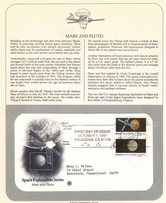 Space First Day Cover: Mars and Pluto First Day Covers, The Martian, Nasa, Planets, How To Plan, Space, Floor Space, Mars