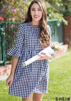 spring gingham dress she in bell sleeves baby doll dress moos musing long brown curled hair Stylish Dresses, Simple Dresses, Pretty Dresses, Casual Dresses, Short Dresses, Fashion Dresses, Summer Dresses, Doll Dress Patterns, Gingham Dress
