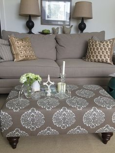 Upholstered Ottoman Coffee Table Brown And White By TheEdensHouse
