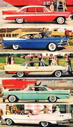 Chrysler Corp. line-up for 1957....from top-to-bottom: Plymouth Belvedere, Dodge Royal, DeSoto Fireflite, Chrysler New Yorker, Imperial Crown convertible.