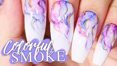 Colorful Smoke Nail Art Tutorial // No Gel/Acrylics // Nail Art at Home If you like my videos, pleas Youtube Nail Art, Gel Nail Tutorial, Water Color Nails, Water Nail Art, Nail Art At Home, Gel Nail Art Designs, Gel Acrylic Nails, Colored Smoke, Nail Art Videos