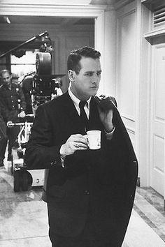 Mr. Newman drinking coffee~ Hot coffee! : repin: Full Bloom Coffee  --- Hot Man! Also, Wonderful human being! ~cm  #Paul_Newman #coffee