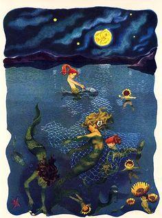 """Illustration by Gertrude Elliott for """"Moon Song"""" by Mildred Plew Meigs From the Big Golden Book of Poetry. Vintage Mermaid, Mermaid Art, Mermaid Lagoon, Baby Mermaid, Fairy Land, Fairy Tales, Tarot, Mermaid Pictures, Mermaid Images"""