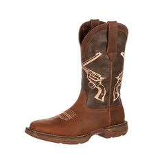 pretty nice a4088 f72c7 Durango Western Boots Mens Rebel Crossed Guns Square Toe Brown DDB0077