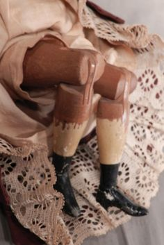 Antique Joel Ellis Springfield Vermont Wooden Doll Original Costume American USA