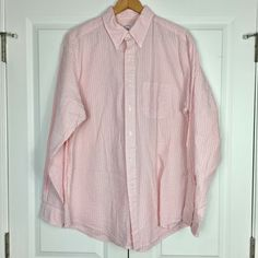 Brooks Brothers Pink Seersucker Long Sleeved Button Up Shirt Men's Sz Lg Traditi #BrooksBrothers Button Up Shirt Mens, Brooks Brothers, Seersucker, Ebay Clothing, Shirt Dress, Long Sleeve, Sleeves, Fabric, Pink