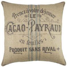 Love this down filled grainsack farmhouse pillow!!