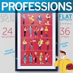 60 profession portraits by katflare | store on @creativemarket
