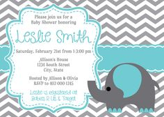 Elephant & Chevron Baby Shower Invitation by jojosdesigns on Etsy https://www.etsy.com/listing/219623970/elephant-chevron-baby-shower-invitation