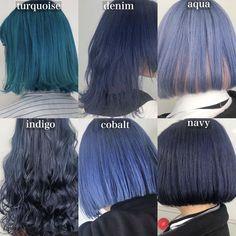 Types of color auzl Pretty Hair Color, Hair Color Blue, Dark Blue Hair, Short Blue Hair, Korean Hair Color, White Hair, Hair Color Streaks, Hair Dye Colors, Blue Hair Highlights
