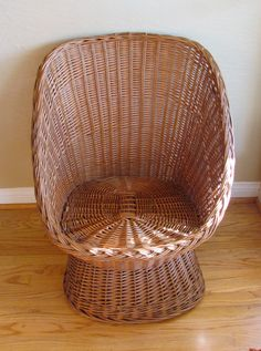 Child Sized Rattan Wicker Chair  Vintage Childrens by muffnofdoom
