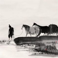 Peng Xiancheng Art Chinois, Art Through The Ages, Horse Posters, Tinta China, Japanese Calligraphy, China Art, Korean Art, China Painting, You Draw