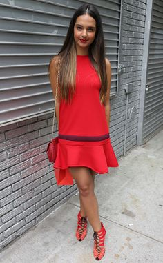 Sara Koonar from New York Fashion Week Spring 2015 Street Style  Sara gets what red-hot is all about.