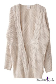 Plain Open-front Tunic Cardigan in Cable Knit