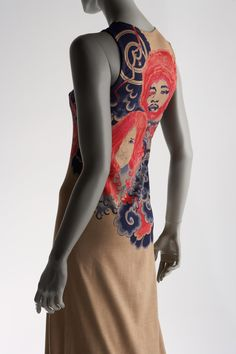 """""""Tattoo Dress"""" created by Issey Miyake in 1971.  Miyake is a Japanese designer for the 1970s which is known for his advance, high end designs."""