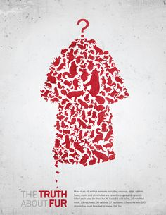 Anti-Fur Poster by Tae S. Yang #fur I like how the fur coat is made up of silhouettes of animals. It is a clever idea.