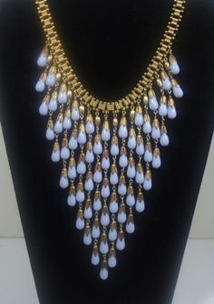 Vtg Miriam Haskell Baby Blue Glass Tear Drop Beads Bib Necklace Egyptian Revival | eBay