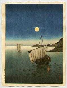 Two Boats in Moonlightby Yoshimune Arai Japanese Drawings, Japanese Artwork, Japanese Painting, Japanese Prints, Chinese Painting, Chinese Art, Japanese Illustration, Illustration Art, Botanical Illustration