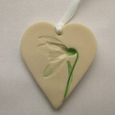 Handmade Porcelain Ceramic Snowdrop Hanging Decoration Great favour or day gift. Made in Cornwall! Ceramic Pendant, Ceramic Clay, Porcelain Ceramic, Porcelain Doll, Diy Clay, Clay Crafts, Gifts For Mum, Mother Day Gifts, Home Flower Decor