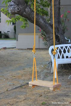 Rope Swing Always wanted a tree swing! Backyard Swings, Backyard For Kids, Backyard Landscaping, Outdoor Projects, Diy Projects, Rope Swing, Bench Swing, Play Mobile, Outdoor Fun
