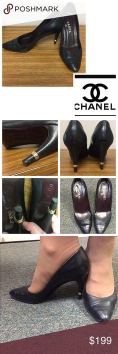 ⚜Chanel Black Pumps w logo heel. Size 36 ⚜Chanel Black Pumps w logo heel. Size 36. Excellent condition. Worn a few times. 2.5 inch heel. Gorgeous! CHANEL Shoes Heels