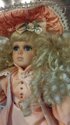 """Vintage Seymour Mann Porcelain Doll """"Susannah"""" Collectible Pink Outfit 14"""" Tall"""