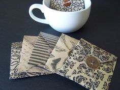 Tea Bag Envelope Favors with Lucky Chinese Coin or by PapermadebyK