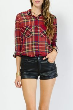 Classic Plaid Button Up Top $15.99