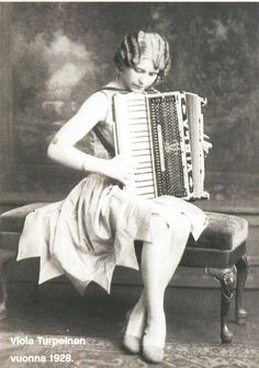 Viola Turpeinen was probably the first woman accordionist to record, and certainly the first female accordion star in America.  A second-generation Finnish-American, starting in the 1920's she played the Finnish dance circuit in the upper mid-west region of Michigan / Wisconsin / Minnesota.  Eventually based out of New York, she toured widely and it became a tradition for dancers to see her headlining travelling shows every summer.