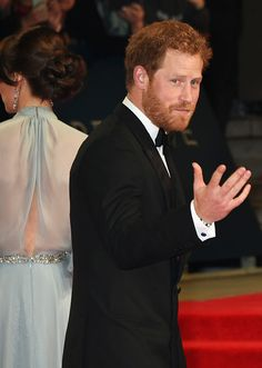 Prince Harry attend the Royal World Premiere of 'Spectre' at Royal Albert Hall on October 26, 2015 in London, England.