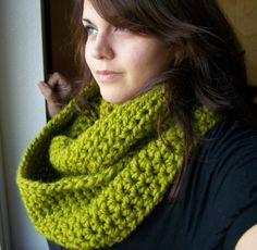 Crochet Infinity Scarf Lime GreenSIZE by SoLaynaInspirations, $38.00