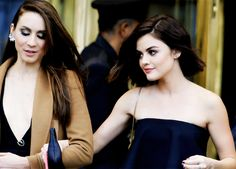 Troian Bellisario & Lucy Hale leaving ABC Family Upfronts in NYC on April 14, 2015