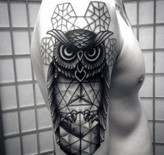 Manly Geometric Owl Arm Tattoo Designs For Men