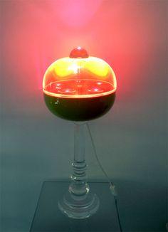 Lampada in plexiglass 'Globo' rosso', diam 350mm, h 600mm
