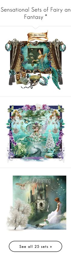 """* Sensational Sets of Fairy and Fantasy *"" by funkyjunkygypsy ❤ liked on Polyvore featuring art, 6085, maxi dresses, floral print, sequins, wishing well, pastel makeup, fairytale, crown and blue eye makeup"