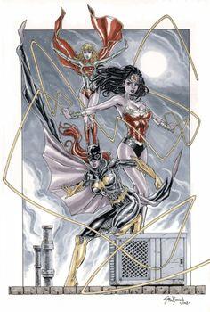 DC Comics New 52 Batgirl, Supergirl & Wonder Woman Comic Art