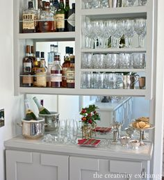 DIY Narrow Built-In Bar with plans. The Creativity Exchange