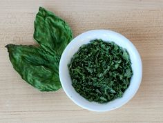 Dry basil leaves in microwave