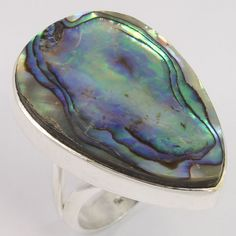 Natural ABALONE SHELL Flat Gems 925 Sterling Silver Pretty Ring Size US 7.75 FS #Unbranded
