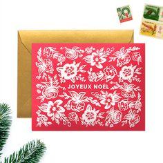 Boxed Christmas Cards,  Set of 8,  Floral Joyeux Noel by WoodburyDesignCo on Etsy