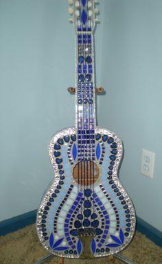 Sweet Blues Mosaic tiled Guitar by sweetmosaics on Etsy, $600.00